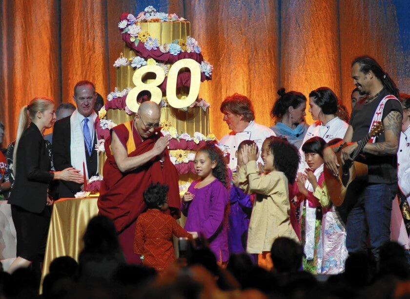 The 14th Dalai Lama at the Global Compassion Summit in Anaheim for the Nobel Peace Prize winner's 80th birthday celebration. The Dalai Lama's actual birthday is Monday. Organizers chose the early celebration to coincide with his birthday in Tibet.(Francine Orr / Los Angeles Times)
