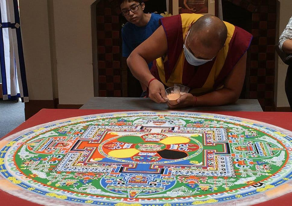 Tibetan monks spend two weeks making sand mandala to mark Dalai Lama's 80th birthday